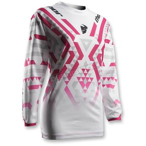Thor Womens White/Magenta Pulse Facet Jersey - 2911-0133