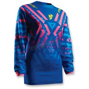 Thor Womens Blue/Pink Pulse Facet Jersey - 2911-0137