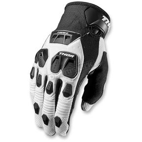 Thor White/Black Defend Gloves - 3330-3862