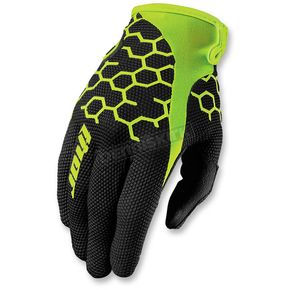 Thor Black/Flo Green Draft Comp Gloves - 3330-3905