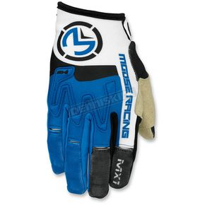 Moose Blue/White MX1 Gloves - 3330-4320