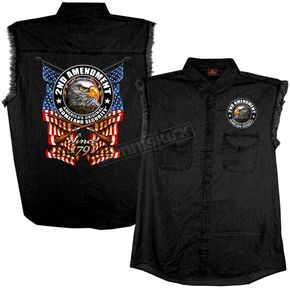 Hot Leathers Black New Down Flag Sleeveless Denim Shirt - GMD5338M