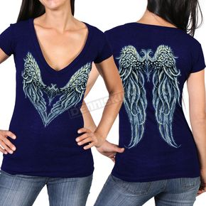 Hot Leathers Women's Navy Angel Heart 2  Semi-Sheer V-Neck T-Shirt - GLD1392M