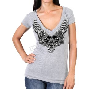 Hot Leathers Women's Silver Flight Semi-Sheer V-Neck T-Shirt - GLC1406L