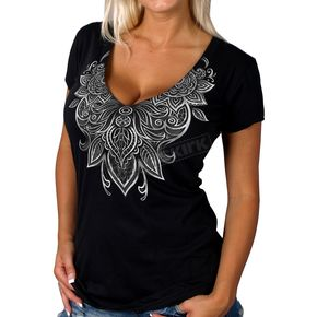 Hot Leathers Women's Black Lace Semi-Sheer V-Neck T-Shirt - GLC1396XL
