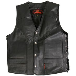 Hot Leathers Side Lace Cowhide Leather Vest - VSM1030S