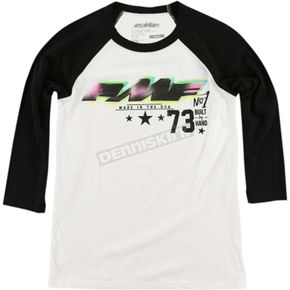 FMF White/Black Womens Number 1 Raglan-Sleeve Tee Shirt - FA6419900WBKXL