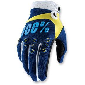 100% Navy/Yellow Airmatic Gloves - 10004-072-10