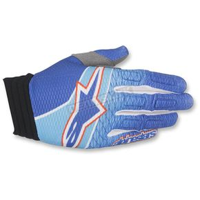 Alpinestars Blue/Cyan/Red Aviator Gloves - 3560317-773-SM