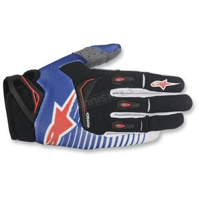 Alpinestars Blue/White/Red Techstar Gloves - 3561017-723-SM