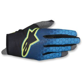 Alpinestars Dark Blue/Cyan/Flo Yellow Radar Flight Gloves - 3561817-7066-SM