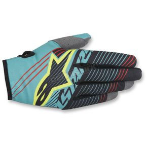 Alpinestars Teal/Black/Flo Yellow Radar Tracker Gloves - 3561917-651-2X
