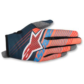 Alpinestars Youth Petrol Blue/Aqua/Flo Orange Radar Tracker Gloves - 3541917-7074-LG