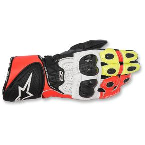 Alpinestars Black/White/Flow Red/Flo Yellow GP Plus R Leather Gloves - 3556517-1240-L