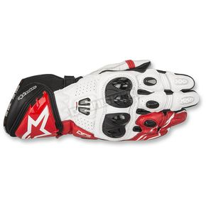 Alpinestars Black/White/Red GP Pro R2 Leather Gloves - 3556717-123-L