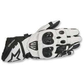 Alpinestars Black/White GP Pro R2 Leather Gloves - 3556717-12-M