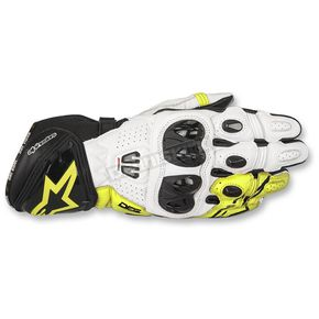 Alpinestars Black/White/Flo Yellow GP Pro R2 Leather Gloves - 3556717-125-M