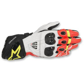Alpinestars Black/White/Red/Yellow GP Pro R2 Leather Gloves - 3556717-1240-3X