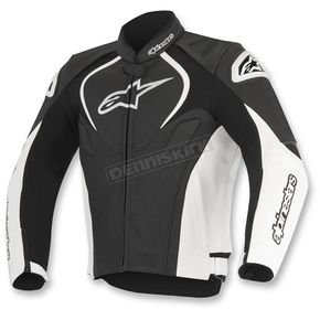 Alpinestars Black/White Jaws Perforated Leather Jacket - 3101116-12-46