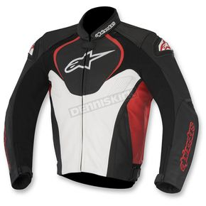 Alpinestars Black/White/Red Jaws Leather Jacket - 3101016-123-46