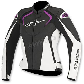 Alpinestars Womens Black/White/Fuchsia Stella Jaws Leather Jacket - 3111016-1239-38