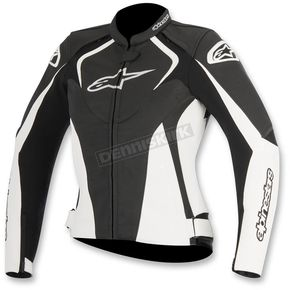 Alpinestars Womens Black/White Stella Jaws Leather Jacket - 3111016-12-48