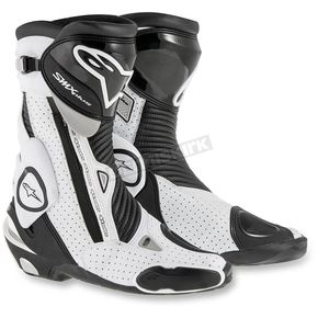 Alpinestars Black/White SMX Plus Vented Boots - 2221015-122-42