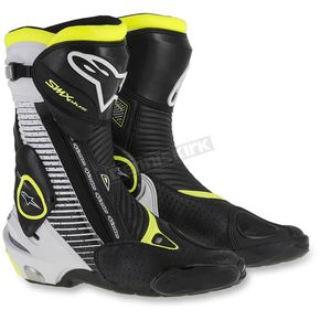 Alpinestars Black/White/Flo Yellow SMX Vented Boots - 2221015-126-47