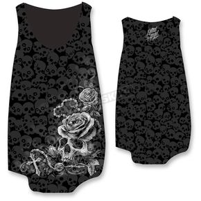 Lethal Threat Womens Rosary Skull Burnout Tank - LT20378XL