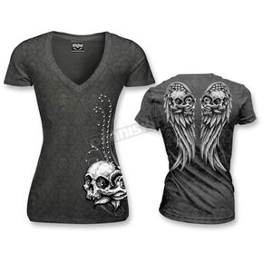 Lethal Threat Womens Wing Skull Burnout T-Shirt - LT20303L
