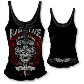 Lethal Threat Womens Black Lace Riders Tank Top  - LT20334M