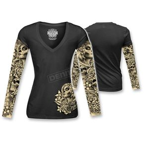 Lethal Threat Womens Dod Tattoo Long Sleeve Shirt  - LT20344L