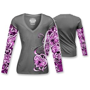 Lethal Threat Womens Heart Lock Tattoo Long Sleeve Shirt - LT20343L
