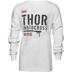 Thor Youth White Objective Long Sleeve Shirt - 3032-2430