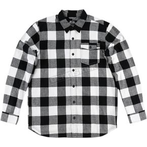 Metal Mulisha Black/White Explicit Long-Sleeve Flannel Shirt - FA6504000BLW2XL