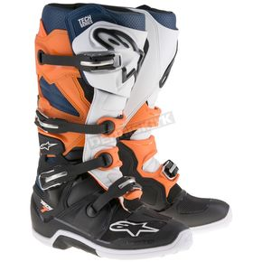 Alpinestars Black/Orange/Blue/White Tech 7 Boots - 2012014-1427-11