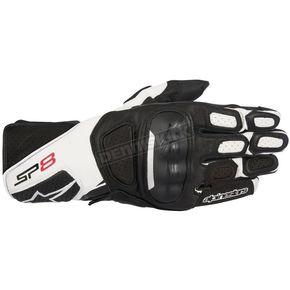 Alpinestars Black/White SP-8 v2 Leather Gloves - 3558317-12-3X