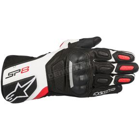 Alpinestars Black/White/Red SP-8 v2 Leather Gloves - 3558317-123-M