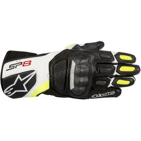 Alpinestars Black/White/Fluorescent Yellow SP-8 v2 Leather Gloves - 3558317-125-M