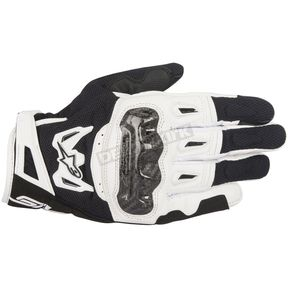 Alpinestars Black/White SMX-2 Air Carbon v2 Leather Gloves - 3567717-12-S