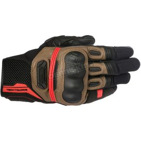 Alpinestars Black/Tobacco Brown/Red Highland Gloves - 3566617-1813-M