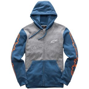 Alpinestars Gray Heather/Blue Machine Fleece Hoody - 1017530051173L