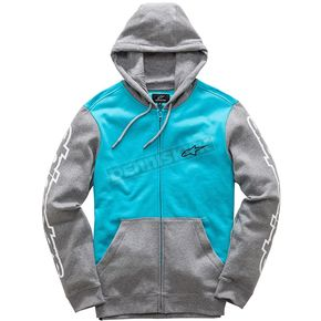 Alpinestars Turquoise/Gray Heather Machine Fleece Hoody - 1017530057612L