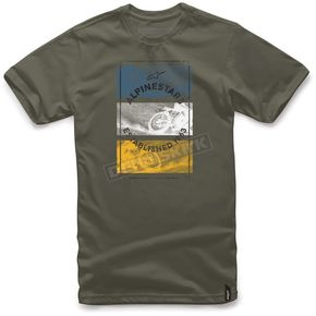 Alpinestars Military Green Burnt T-Shirt  - 101772026608-M