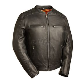 First Manufacturing Co. Black The High Roller Leather Jacket - FIM-230-NOCZ-2X