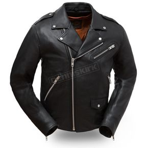 First Manufacturing Co. Black The Enforcer Leather Jacket - FIM-297-CLMZ-5X-3X