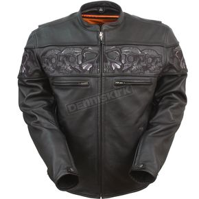 Black Savage Skulls Leather Jacket