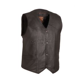 First Manufacturing Co. Black The Texan Leather Vest - FIM-643-CCB-5X-4X