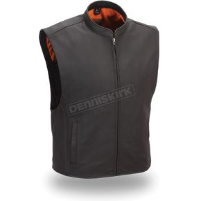 First Manufacturing Co. Black Club House Leather Vest - FIM-656-CSL-L