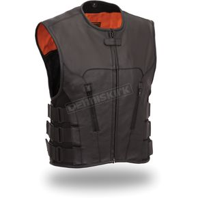 First Manufacturing Co. Black The Commando Leather Vest - FIM-645-CSL-5X-3X